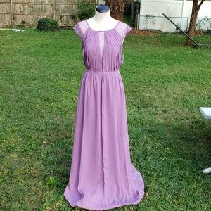 Boho Chiffon bridesmaid gown with lace inset